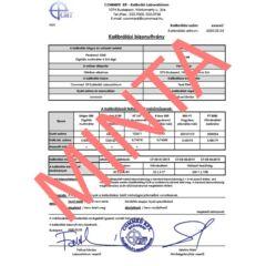 Kalibrálási bizonyítvány - visszavezetett státuszban