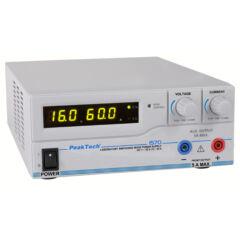 Peaktech 1570 - Kapcsolóüzemű labortápegység, 1 - 16 V / 0 - 60 A DC, USB