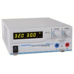 Peaktech 1580 - Kapcsolóüzemű labortápegység, 1 - 32 V / 0 - 30 A DC, USB