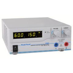 Peaktech 1585 - Kapcsolóüzemű labortápegység, 1 - 60 V / 0 - 15 A DC, USB