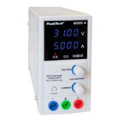 Peaktech 6225A - Laboratóriumi kapcsolóüzemű DC tápegység, 0 - 30 V / 0 - 5 A DC