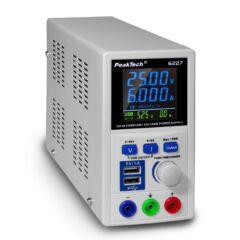 Peaktech 6227 - Laboratóriumi kapcsolóüzemű tápegység, 0 - 60 V / 0 - 6 A DC, 150W