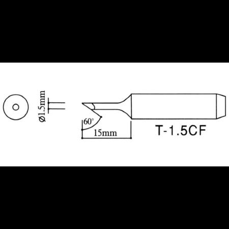 Pákahegy 1,5 mm 45°-ban döntött, 900M-T-1.5CF SILVER