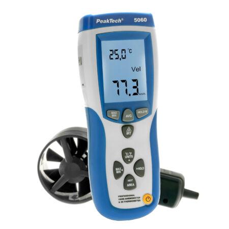 Peaktech 5060 - Légsebesség mérő és infra hőmérő, USB