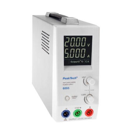 Peaktech 6095 - Kapcsolóüzemű DC tápegység, 1 - 20 V / 0 - 5 A DC