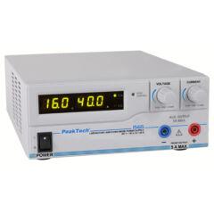 Peaktech 1565 - Kapcsolóüzemű labortápegység, 1 - 16 V / 0 - 40 A DC, USB