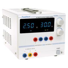 Peaktech 6035D - Digitális labortápegység, 0 - 30 V / 0 - 2,5 A DC és 5 / 12 V, 0,5 A fix kimenet