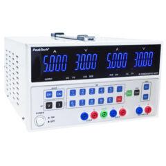 Peaktech 6075 - Digitális labortápegység, 2 x 0 - 30 V / 0 - 5 A DC + 5 V / 3 A fix, USB