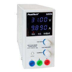Peaktech 6226 - Laboratóriumi kapcsolóüzemű DC tápegység, 0 - 30 V / 0 - 10 A DC