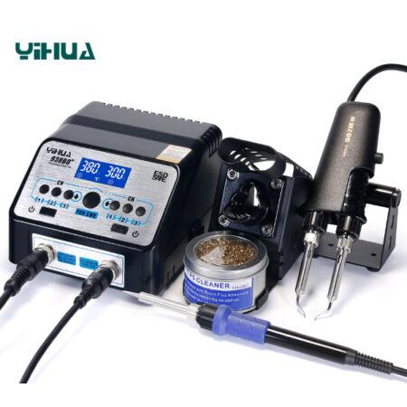 YIHUA 938BD+ forrasztóállomás + SMD csipesz + pákahegy tisztító