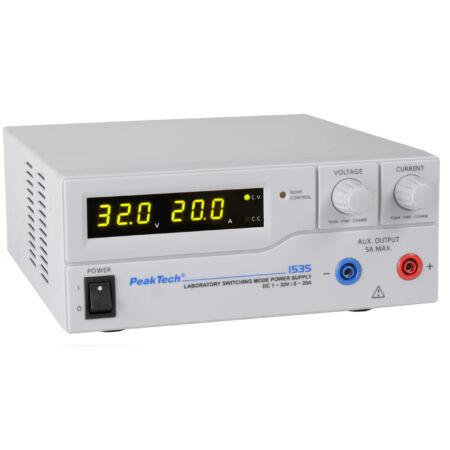 Peaktech 1535 - Kapcsolóüzemű labortápegység, 1 - 32 V / 0 - 20 A DC
