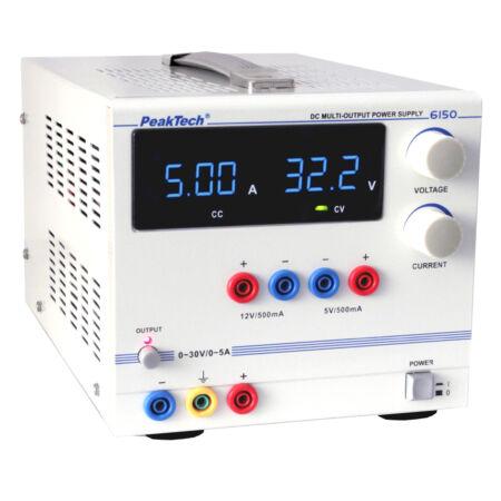 Peaktech 6150 - Digitális labortápegység, 0 - 30 V / 0 - 5 A DC, 5 V/500 mA, 12 V/500 mA fix